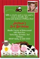 Design online, download jpg immediately DIY barnyard petting zoo birthday Invitations