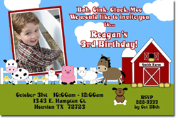Design online, download jpg immediately DIY Farm party birthday Invitations