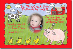 Design online, download jpg immediately DIY barnyard party birthday Invitations