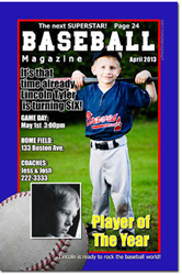Design online, download jpg immediately DIY baseball magazine birthday party invitations