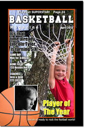 Design online, download jpg immediately DIY basketball magazine birthday party invitations
