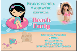 Design online, download jpg immediately DIY beach party birthday Invitations