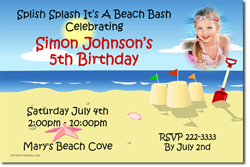 Design online, download jpg immediately DIY beach birthday invitations