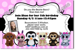 Design online, download jpg immediately DIY beanie boo party birthday Invitations