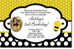 Design online, download jpg immediately DIY bee party birthday Invitations