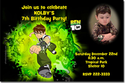 Design online, download jpg immediately DIY ben 10 birthday Invitations
