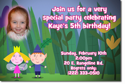 Design online, download jpg immediately DIY ben and holly party birthday Invitations