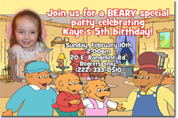 Design online, download jpg immediately DIY berenstain bears party birthday Invitations