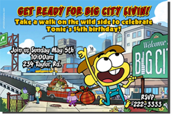 Design online, download jpg immediately DIY big city green birthday party Invitations