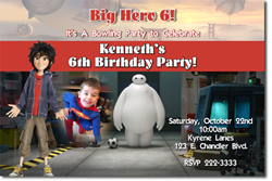 Design online, download jpg immediately DIY big hero 6 birthday Invitations