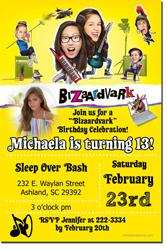 Design online, download jpg immediately DIY bizaardvark party birthday Invitations