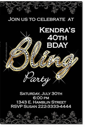 Design online, download jpg immediately DIY bling birthday party invitations