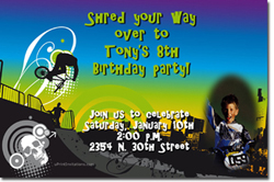 Design online, download jpg immediately DIY bmx birthday Invitations