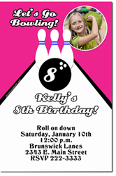 Design online, download jpg immediately DIY bowling party birthday Invitations