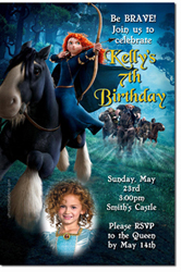 Design online, download jpg immediately DIY brave the movie party birthday Invitations
