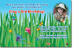 Design online, download jpg immediately DIY bugs birthday Invitations
