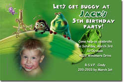 Design online, download jpg immediately DIY bugs life movie birthday Invitations