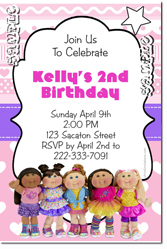 Design online, download jpg immediately DIY cabbage patch kids party birthday Invitations