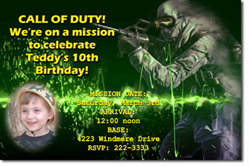 Design online, download jpg immediately DIY call of duty party birthday Invitations