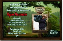 Design online, download jpg immediately DIY camping birthday Invitations