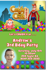 Design online, download jpg immediately DIY candy crush party birthday Invitations