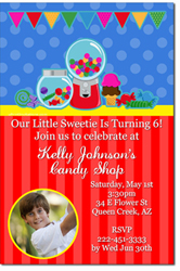 Design online, download jpg immediately DIY candy party birthday Invitations