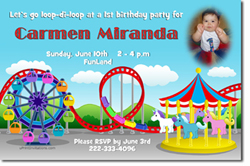 Design online, download jpg immediately DIY carnival amusement park birthday party Invitations