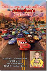 Design online, download jpg immediately DIY cars movie party birthday Invitations