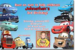 Design online, download jpg immediately DIY cars the disney movie party birthday Invitations