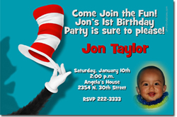 Design online, download jpg immediately DIY cat in the hat party birthday Invitations