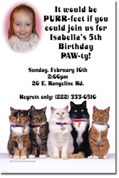 Design online, download jpg immediately DIY cat kitten party birthday Invitations