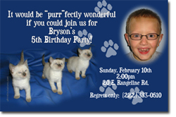 Design online, download jpg immediately DIY cat birthday Invitationss