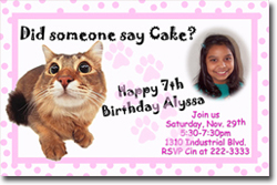 Design online, download jpg immediately DIY kitty cat party birthday Invitations