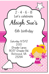 Design online, download jpg immediately DIY cheerleaders party birthday Invitations