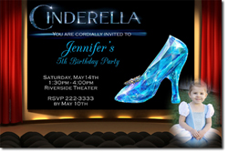 Design online, download jpg immediately DIY cinderella movie 2015 party birthday Invitations