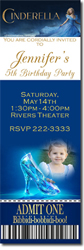 Design online, download jpg immediately DIY cinderella the movie ticket digital download birthday party Invitations