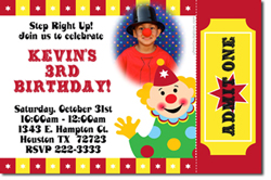 Design online, download jpg immediately DIY circus clown party birthday Invitations