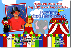 Design online, download jpg immediately DIY cirus party birthday Invitations