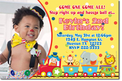 Design online, download jpg immediately DIY circus train birthday Invitations