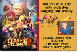 Design online, download jpg immediately DIY clash of clans birthday Invitations