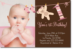 Design online, download jpg immediately DIY clothesline party birthday Invitations