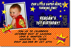 Design online, download jpg immediately DIY comic book birthday party Invitationss