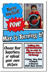 Design online, download jpg immediately DIY comic book super hero birthday party Invitations