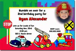 Design online, download jpg immediately DIY construction birthday party Invitations