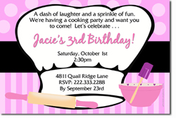 Design online, download jpg immediately DIY chefs cooking hat party birthday Invitations