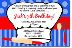 Design online, download jpg immediately DIY cooking party birthday Invitations