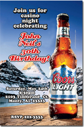 Design online, download jpg immediately DIY coors light birthday party invitations