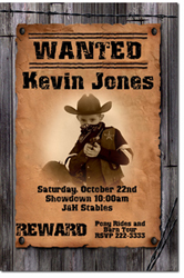 Design online, download jpg immediately DIY cowboy wanted poster party birthday Invitations