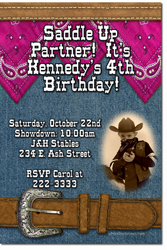 Design online, download jpg immediately DIY cowboy party birthday Invitations
