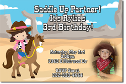 Design online, download jpg immediately DIY western birthday Invitations